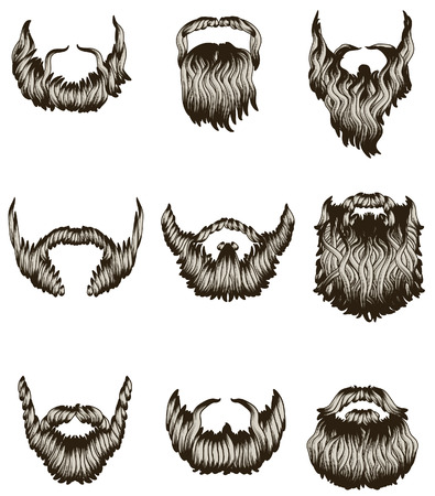 Set of hand drawn beards Illusztráció