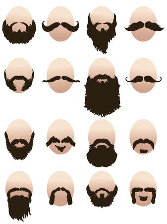 수염과 콧수염이있는 남성 얼굴 세트 일러스트