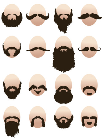 style goatee: Set of mens faces with beards and mustaches