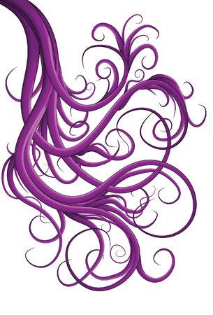 wicked: Hand drawn illustrated jumbled purple swirls Illustration