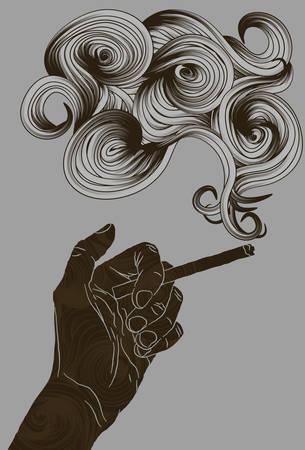 Abstract geïllustreerd hand die een sigaret Stock Illustratie