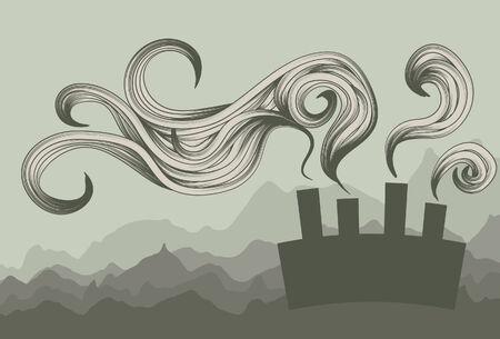smoke stack: Inquinamento astratta smog sfondo Vettoriali