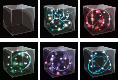 Collection of transparent glass boxes with glowing swirls photo