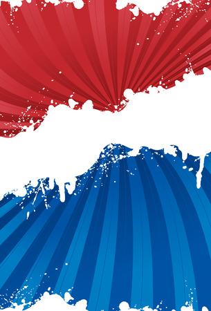 愛国心: グランジ ラインと赤、白および青の愛国的な背景