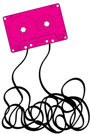 unwound: Pink music cassette with jumbled mess of tape below Illustration