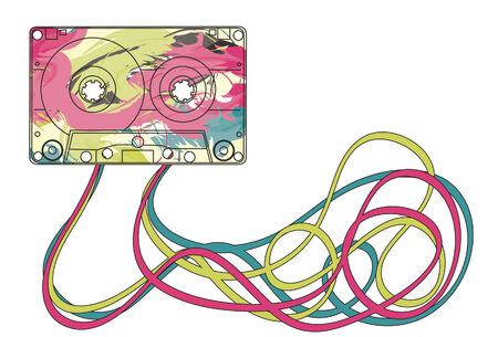 colorful music cassette with jumbled mess of tape below