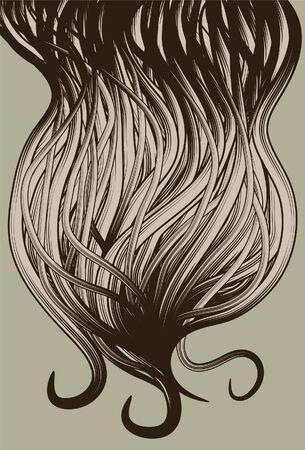 groviglio: Mano astratta disegnato barba capelli sfondo