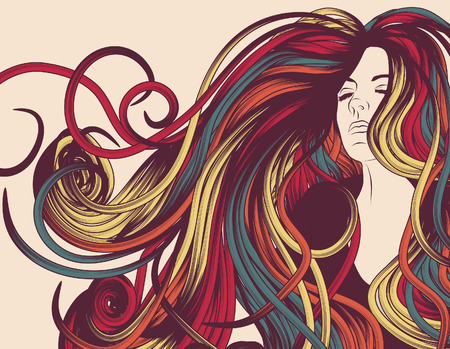 rocker girl: Cara de mujer con mucho colorido de pelo rizado  Vectores