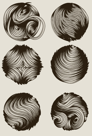 Collection of hand drawn detailed circular design elements Vector