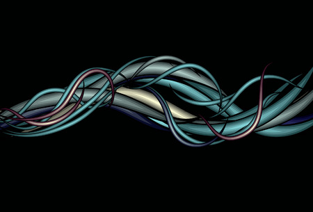 squiggly: Messy rounded intertwining line background Illustration