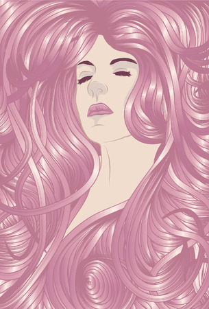 Beautiful woman with long pink hair