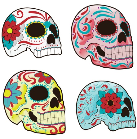 dia de los muertos: Collection of traditional mexican sugar skulls for the Day of the Dead or Dia de los Muertos