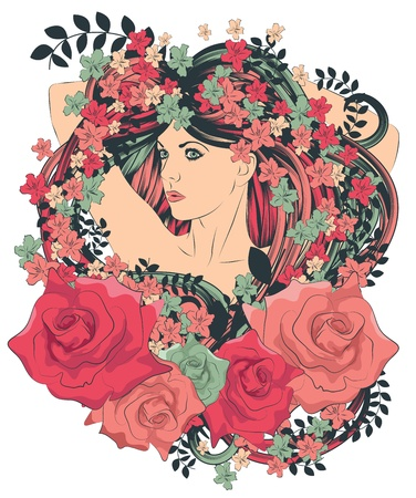Woman with long flowing hair surrounded by flowers Stock Illustratie