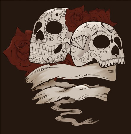 skull and flowers: Dise�o de cr�neo de az�car con rosas y banner