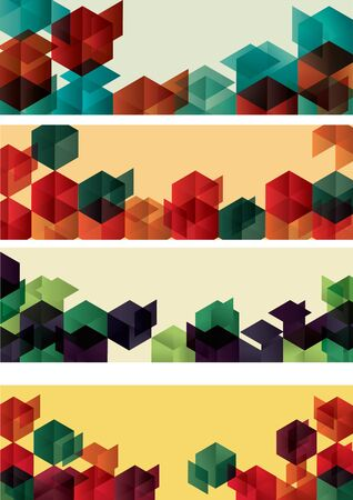 Set of Geometric Gradient Cube Web Banners