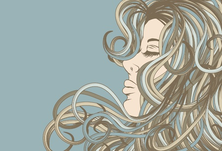 Womans face in profile with detailed hair Ilustracja
