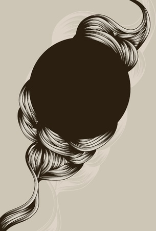 hand knot: Hand drawn flowing swirl shapes around circle Illustration
