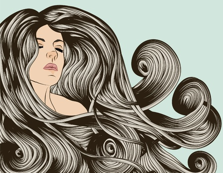 Womans face with detailed hair Vector