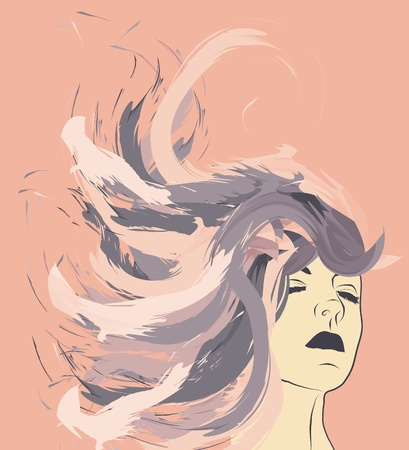 Woman with painted abstract hair Vector