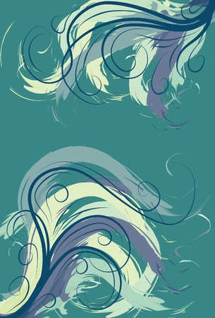 teal background: Green and yellow swirling painted line background