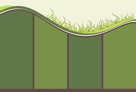 Illustrated grassy hill with copy space background Ilustração