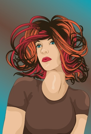 Beautiful woman with short colorful hair Vector