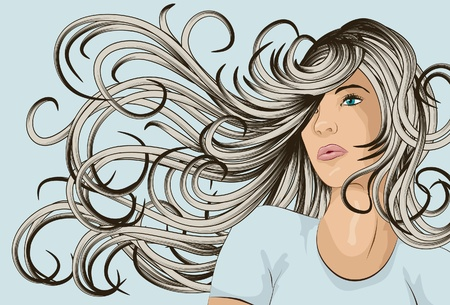 blue hair: Beautiful woman with long hair blowing in the wind Illustration