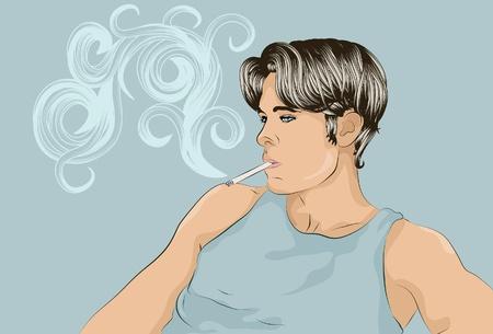 mann bad: Junger Mann raucht eine Zigarette