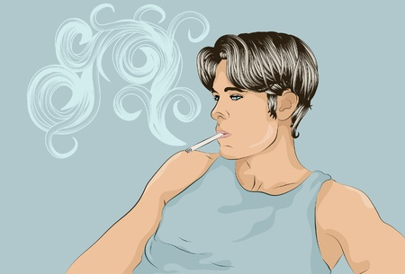 cigarette: Young man smoking a cigarette
