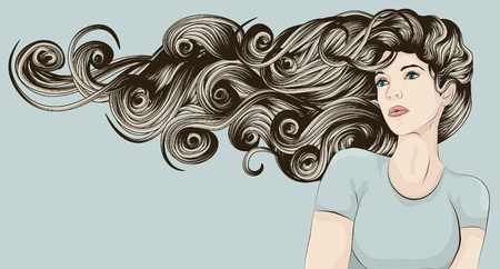 Beautiful woman with long curly hair blowing in the wind Vector