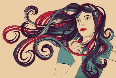 wavy hair: Beautiful woman with detailed colorful hair