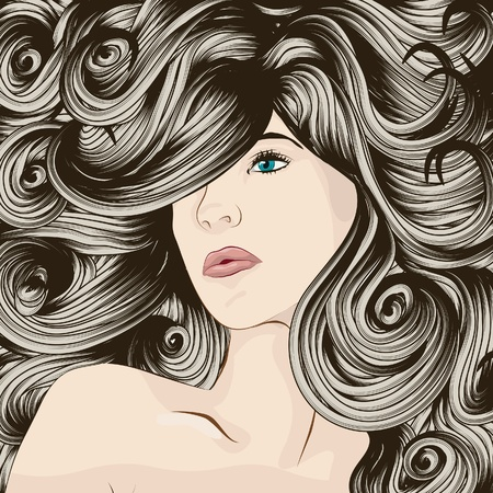 Womans face with detailed hair