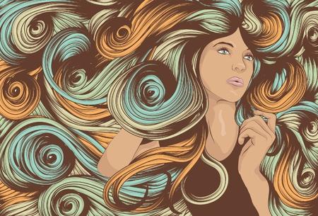 長い旋回髪と美しい女性