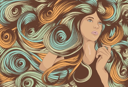 Beautiful woman with long swirling hair Çizim