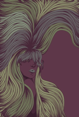 Mysterious woman with long colorful hair covering page Ilustracja