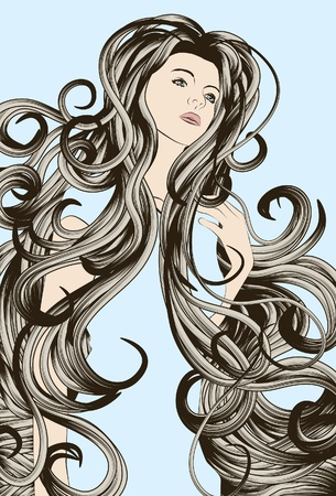 beautiful woman with messy detailed hair Vector