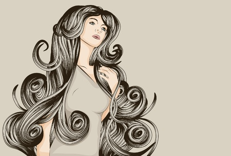 beautiful woman with long curly hair Ilustracja