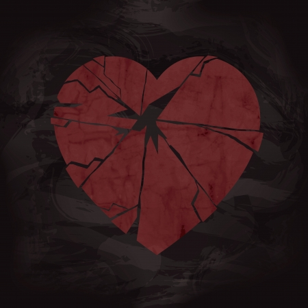 Grunge Broken Heart Design with Texture Illustration