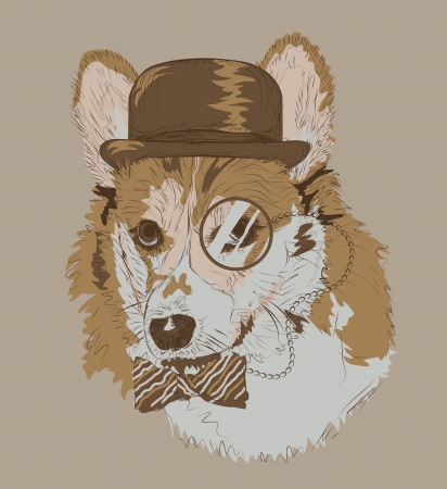Vintage retro style color drawing of funny corgi dog with bowler hat monocle and bowtie. Иллюстрация