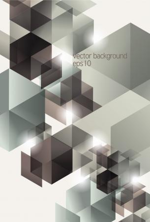 Retro Geometrico Cube Background Design Archivio Fotografico - 17335199