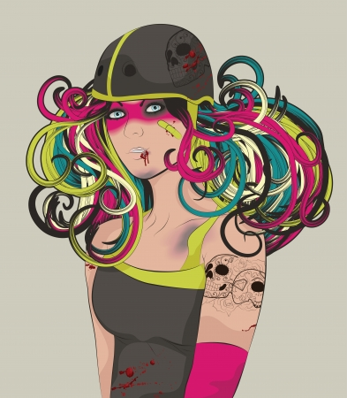 Sexy Beat up Roller Derby girl Vector