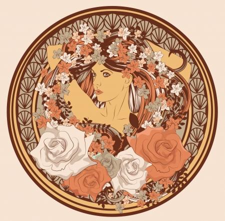 stile liberty: Art Nouveau ha designato la donna con fiori di capelli lunghi e telaio Vettoriali