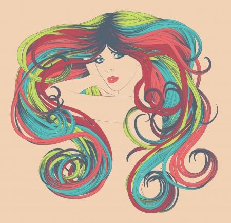 tinte cabello: Mujer s cara con rizado y brillante, pelo de colores del arco iris largo