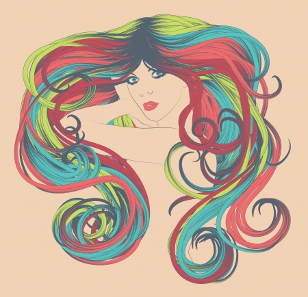 Woman s face with curly and bright, colorful long rainbow hair Ilustração