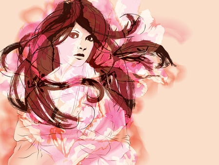 painted face: Beautiful woman with long flowing hair hand drawn fashion illustration