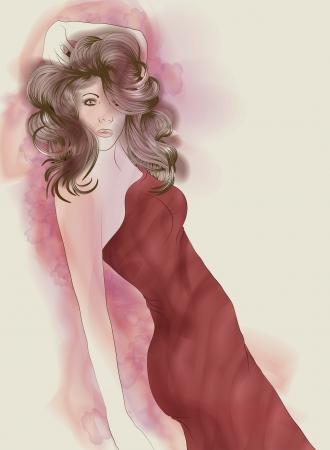 Beautiful painted fashion woman in red dress  Illusztráció