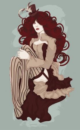 Schöne Frau als sexy Burlesque Cabaret-Tänzerin mit Korsett und Mini-Hut gekleidet