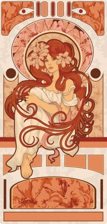 Beautiful woman in a detailed Art Nouveau style with long hair and flowers