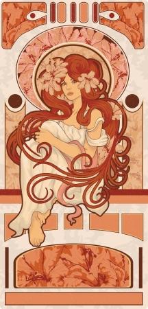 kunst: Schöne Frau in einem detaillierten Art Nouveau Stil mit langen Haaren und Blumen Illustration