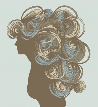 Silhouette of beautiful hand drawn woman fashion illustration